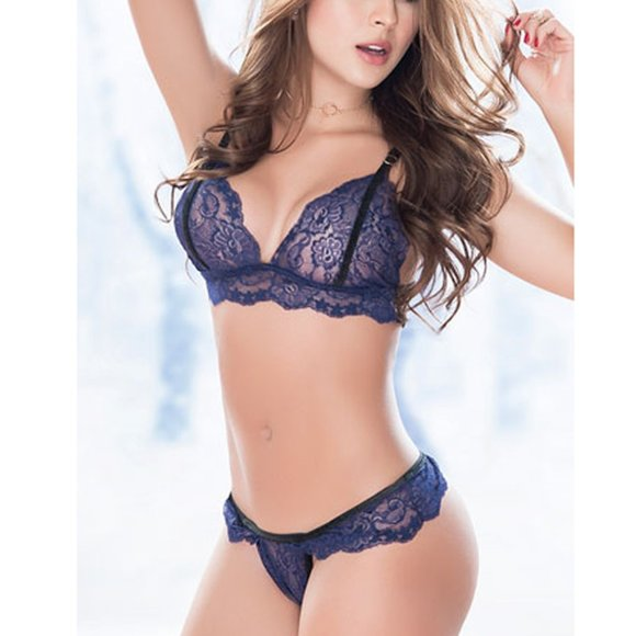SpendWithJen Other - Velvet Trimmed Lace Bra Set Lace Lingerie